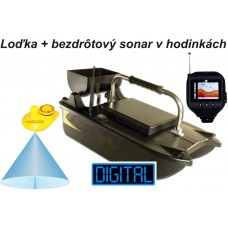 Lacná zavážacia loďka a bezdrôtový sonar v hodinkách