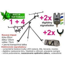 AKCIA stojan na prúty + 2x signalizátor + 2x rohatinka