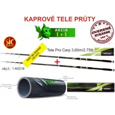 AKCIA 1+1 Grátis uhlíkové kaprové Tele prúty 3,6/2,75l
