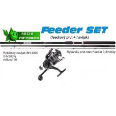 Akcia feeder 3,3m/80g + feeder baitrunerový navijak