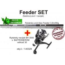 Akcia feeder 3,6m/80g + feeder baitrunerový navijak