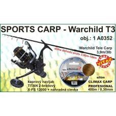 SPORTS CARP set Warchild tele 3,9m/3lb +navijak +silon