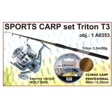 SPORTS CARP set Triton tele 3,3m/80g + navijak +silon
