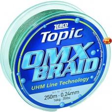 Spletaná šnúra, 250m, 7,5kg Topic OMX Braid