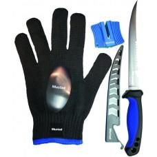 Filetovací set - nôž 15cm - púzdro - rukavica - kameň
